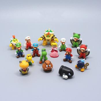 12pcs/lot  Super mario bros 2-3cm mini mario Luigi yoshi dinosaur mushroom  figure action toy PVC figure game mario model dolls