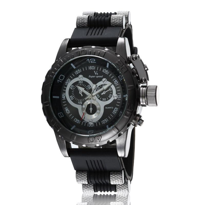 Hot Sale Vogue V6 Strips Hour Marks Round big Dial Quartz Watch Men Fashion Hours Silicone Sport Wrist Watch Relogio Masculino<br><br>Aliexpress