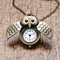 Bronze Night Owl Necklace Pendant Quartz Steampunk Pocket Watch Chain Gift for Men Woman Girl Boy