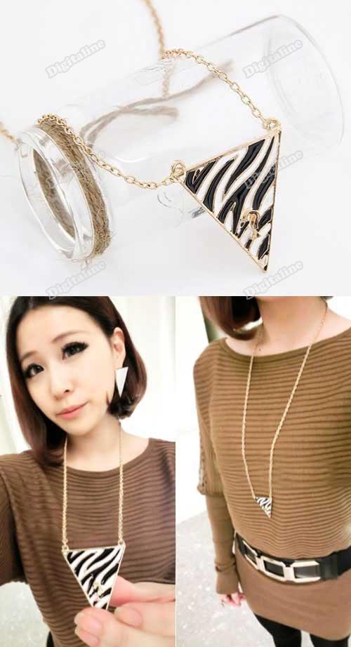 DigitaLine Market New Fashion Retro Zebra Stripe Triangle Joker Drip Long Sweater Chain Necklace(China (Mainland))
