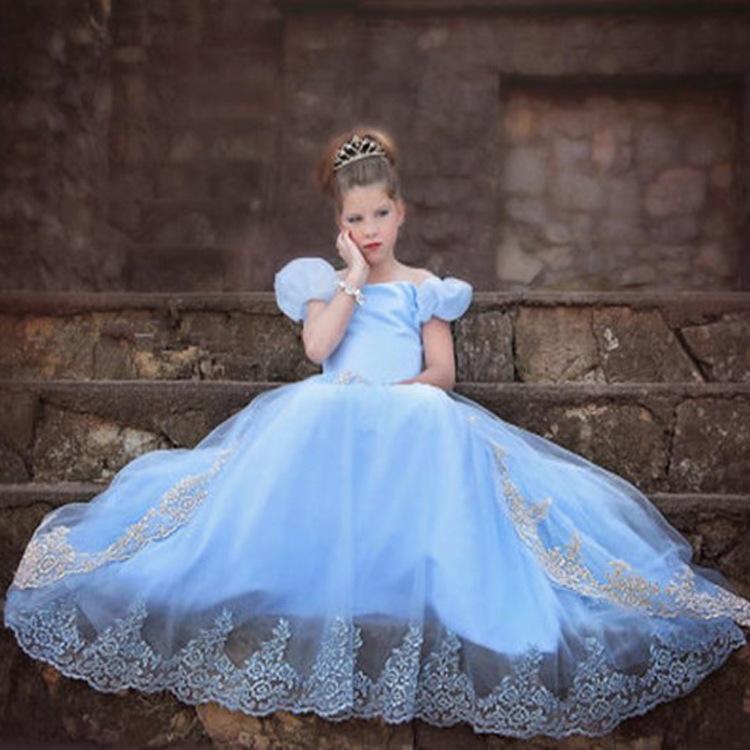 Mopping the floor long lace veil embroidered dress princess dress girls dress skirt<br><br>Aliexpress
