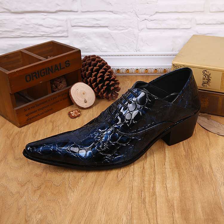 mens Luxury Genuine Leather Crocodile Italian style Dress Shoes Men Lace Suit Business male oxfords Size 38-46 - all shoes -An HU's store