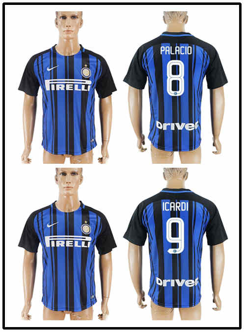 HY Thai quality 17 18 Inter home soccer jersey 2017 2018 JOVETIC ICARDI PALACIO KONDOGBIA MEDEL CANDREVA Milan away football(China (Mainland))