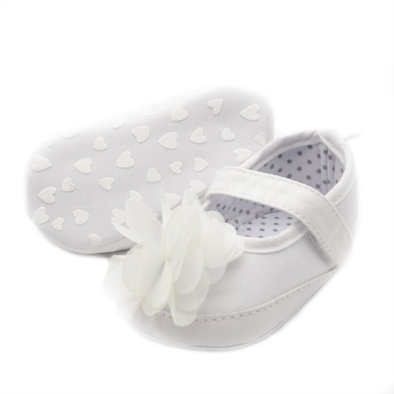 Cute Toddler Infant Baby Girl's Princess White Floral Soft Crib Shoes PreWalker First Walkers New(China (Mainland))