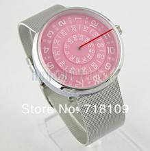Para hombre PAIDU marca de acero inoxidable de plata red band para mujer para hombre señora reloj de pulsera