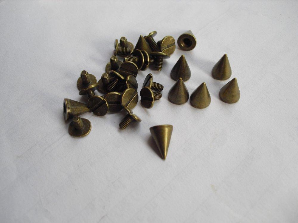 10mm 50pcs Silver , Brone METAL SPIKE STUDS PUNK metal Studs Spots Nailheads Spikes Bag Shoes Bracelet metal rivet(China (Mainland))