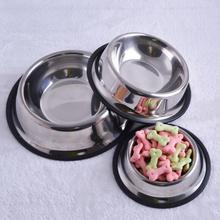 BEST New Stainless Steel Anti-skid Dog Cat Food Water Bowl Pet Feeding Tool 4 Size(China (Mainland))