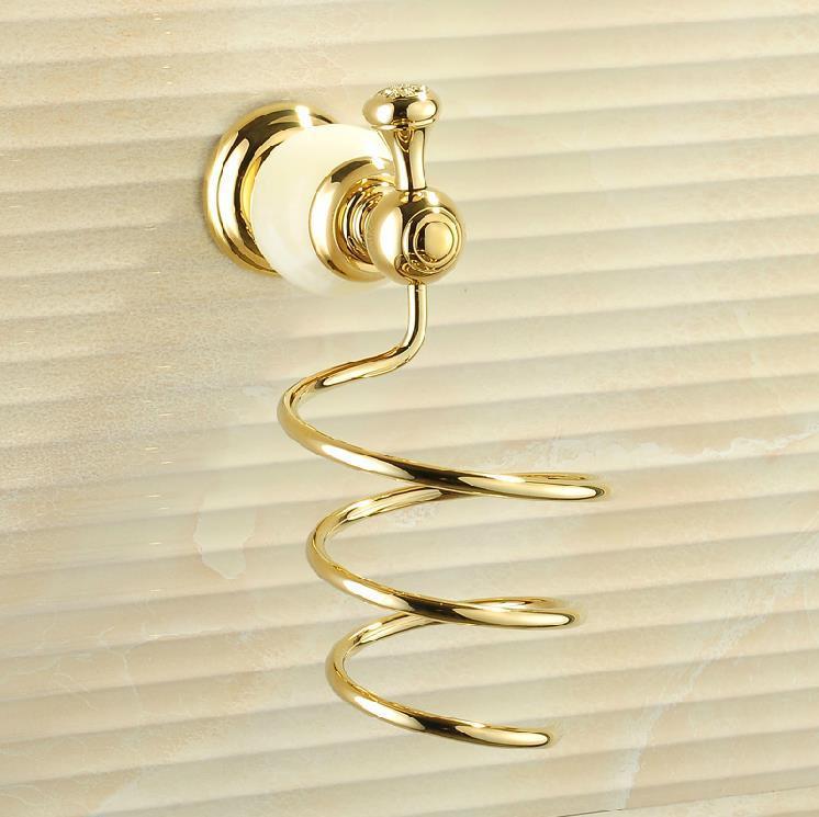 Free Shipping Fashion Jade Wall Hanging gold Hair Dryer Rack Bathroom Hotel Brass Hair-dryer Holder Bathroom Accessories HY-19