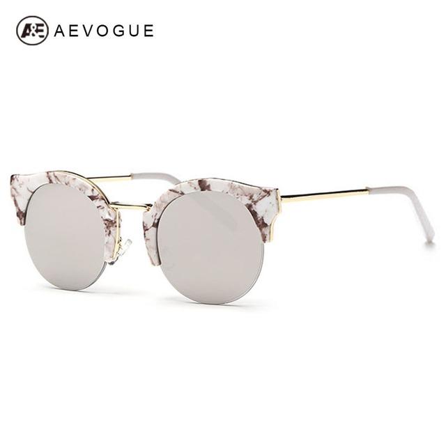 Aevogue очки женщины круглая рамка старинные многоцветный очков кошачий глаз дизайн бренда солнцезащитные очки óculos De Sol UV400 AE0309