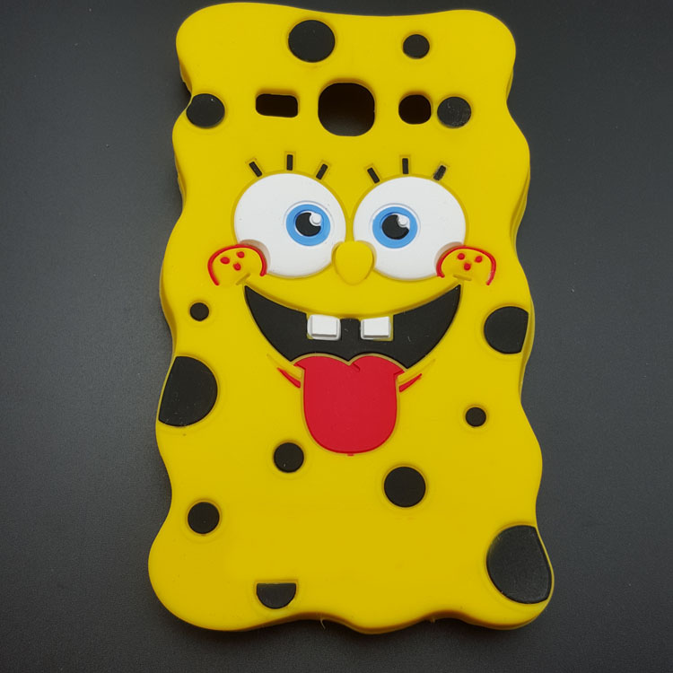 Cute 3D Cartoon Sponge Bob soft silicon case for Samsung Galaxy J1 J100 J100F J100H Rubber silicon back cover shell phone cases(China (Mainland))