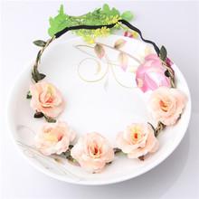 2016 New Bride Bohemian Flower Headband Festival Wedding Floral Garland Summer Hair Band Scrunchy Headband(China (Mainland))