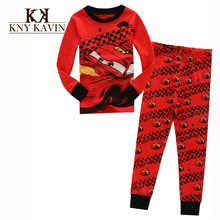 Casual pajamas kids boys fahsion sleepwear red cars cool pattern baby boys pajamas high quality children winter clothing set(China (Mainland))