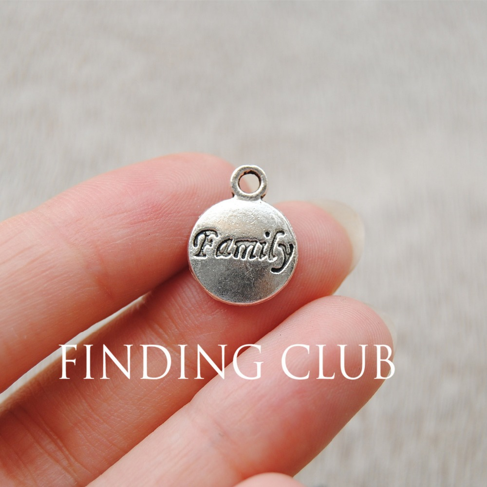"""50 pcs 12mm Antique Silver Round Letter """"Family"""" word tag pendant Charms Metal Bracelet Necklace Jewelry Findings A713(China (Mainland))"""