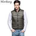 Ultra Light Down Vest Men Stand Collar Zipper Down Gilet Jackets Sleeveless Waistcoat Winter Jackets Plus