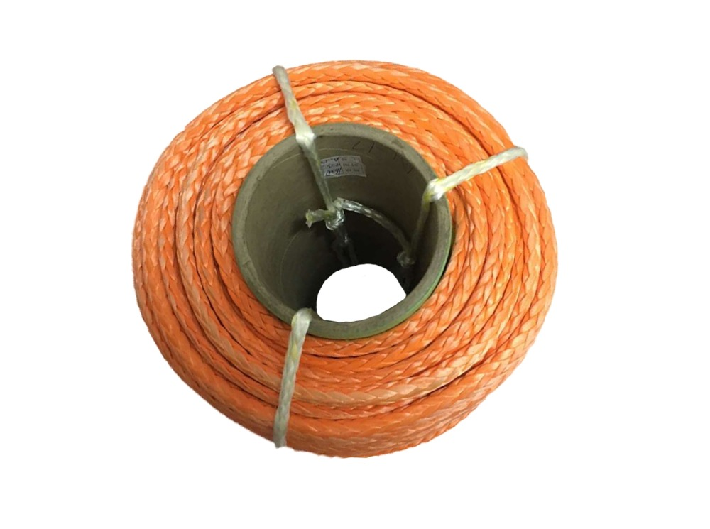 Free shipping 6mm x 200m uhmwpe synthetic winch cable/rope towing rope for ATV/UTV/off-road Red/Grey/Blue/Orange/Yellow colors(China (Mainland))
