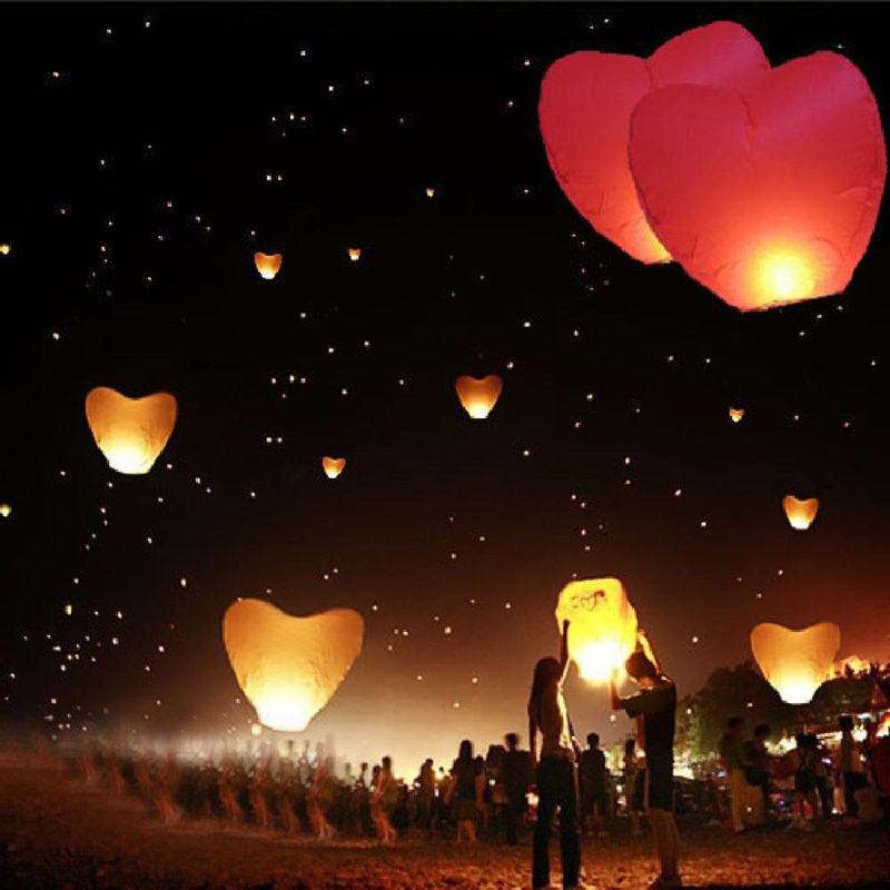 8 Colors Red Heart Sky Lanterns Chinese Paper Sky Candle Fire Balloons for Wedding Anniversary Party Valentine Decor Lantern(China (Mainland))