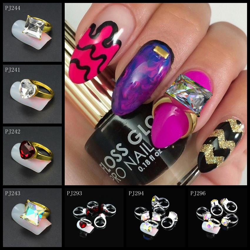 5Pcs/Lot 3D Nail Art Decorations Colorful Glitter Rhinestones Zircon Fingernails RINGS Strass Charms Fashion Jewelry PJ241-298(China (Mainland))