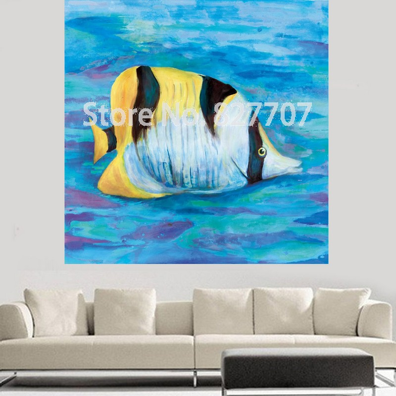 Decoration Hand Painted Animal Oil Painting Modern Golden Fish Animals For Living Room Decor Wall Art Pictures Prints(China (Mainland))