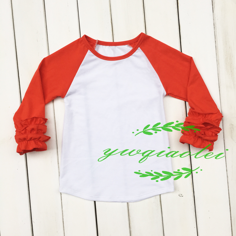 2016 best seller cheap boutique girl raglan clothing ruffle cuff T-shirt popular ruffle raglan shirt(China (Mainland))