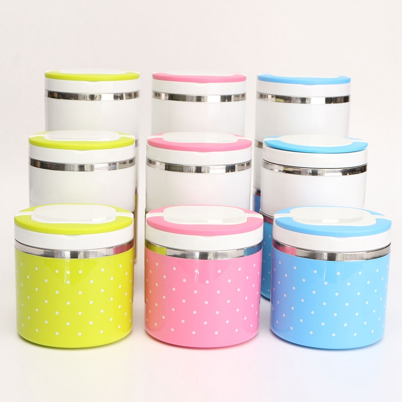 Three Layers Colorful Point Stainless Steel Lunch Box Bento Food Picnic Container Case Kitchen Essential Bento(China (Mainland))