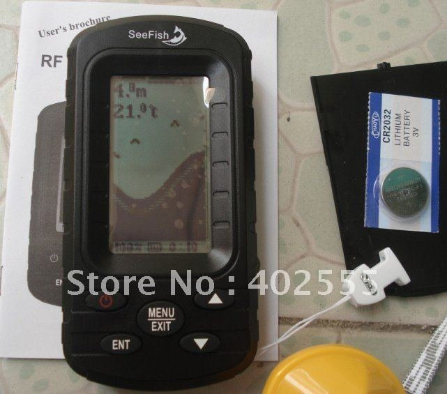 Tl66 wireless portable sonar lcd fish depth finder alarm for Ice fishing depth finder