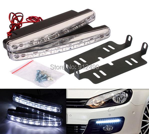 One Pair Car Daytime Running Light LED DRL Auto Universal Wihte 12V DC 8 LED 6000k Super Bright Day Light(China (Mainland))