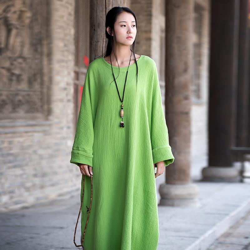 Plus big size Batwing Cotton Women Long font b Dress b font Oversized Zen style Solid