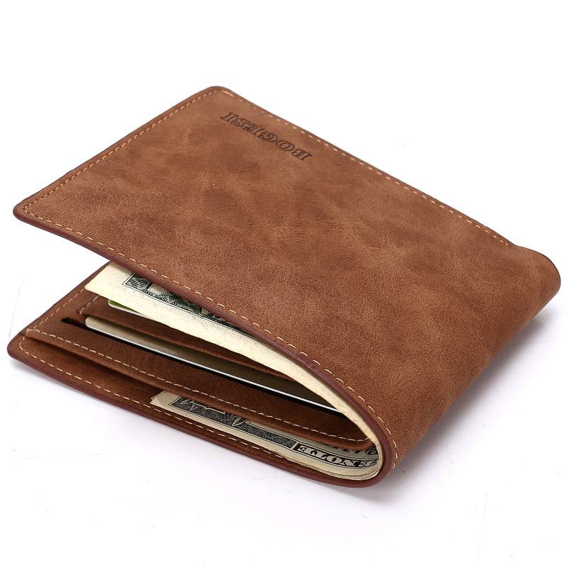 2016 men leather wallet brand zipper purse credit card coin holder slim scrub mini short minimalist vintage sport portomonee(China (Mainland))