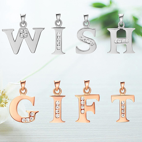 Creative DIY Gift Name Alphabet Initial Letter A to Z Rhinestone Pendant Necklace Store 49(China (Mainland))