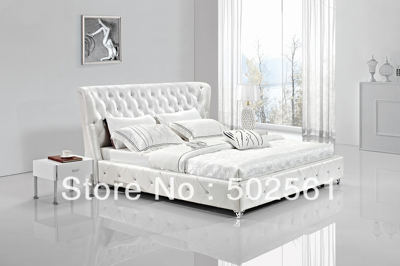 2014 new modern genuine leather bed with diamond include salt bedroom furniture king queen double(China (Mainland))