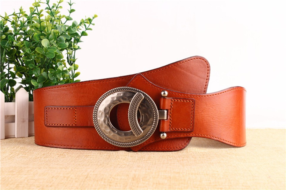 New Fashion High Quality Genuine Leather Women Wide Belt Cummerbunds Female Elastic Wide Belt For Women Dress Accessories Brown