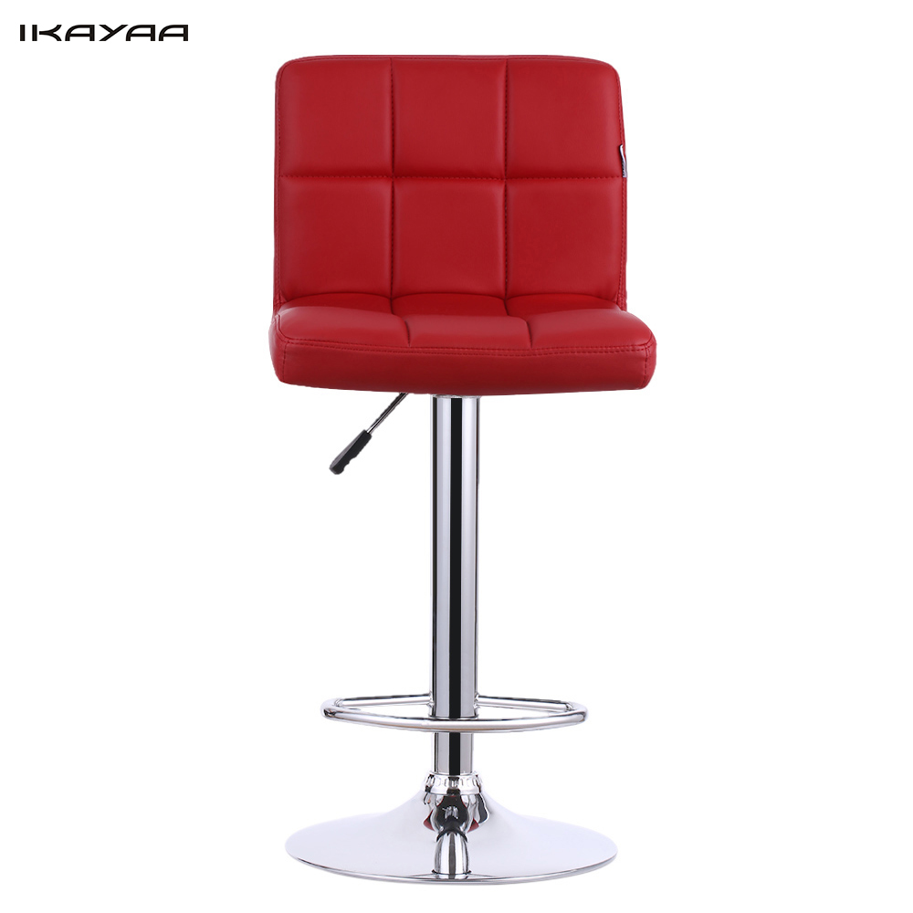 IKAYAA 2PCS/Set of 2 PU Leather Swivel Bar Stools Chairs Height Adjustable Pneumatic Heavy-duty Counter Pub Chair Barstools(China (Mainland))