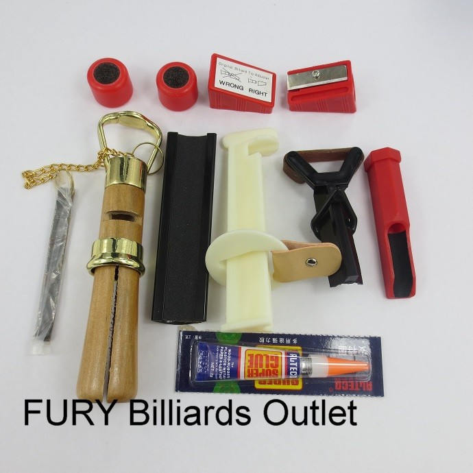 Snooker accessories kit/ 10 pcs /Tip sander/ billiard cue repair tools /Glue/filling/cue accessory(China (Mainland))