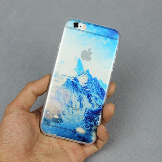 $ Scenery Transparent Personality Hard Plasctic Dream Snow Mountain Case For iPhone 5 5s Printed Back Cover For iPhone5 5s(China (Mainland))
