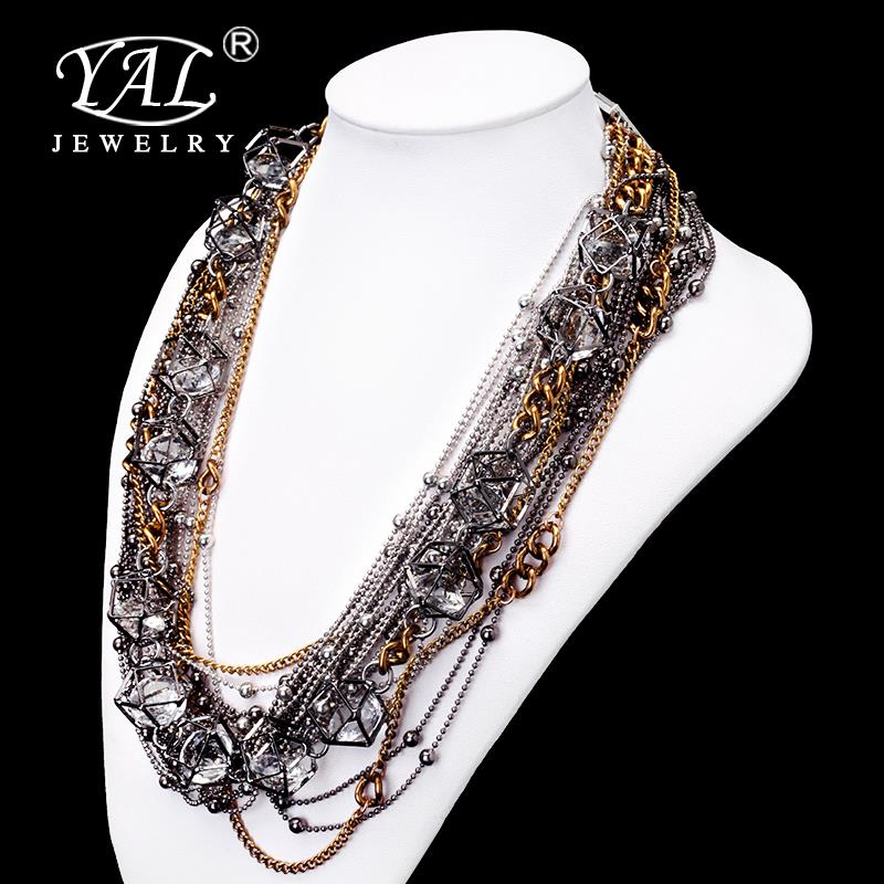 A27 Summer Hot Fashion Gold Plated Fatima Hand 3 Layer Chain Bar Necklace Beads and Long Strip Pendant Necklaces Jewelry JHS019 <br><br>Aliexpress