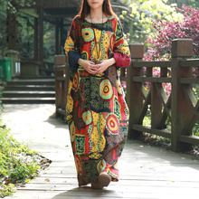 Buy 2016 Spring Women Dress Batwing Sleeve Maxi Dress O-neck Abstract Printing Cotton Linen Ethnic Robe Vestidos Long Dress Elbise for $29.99 in AliExpress store