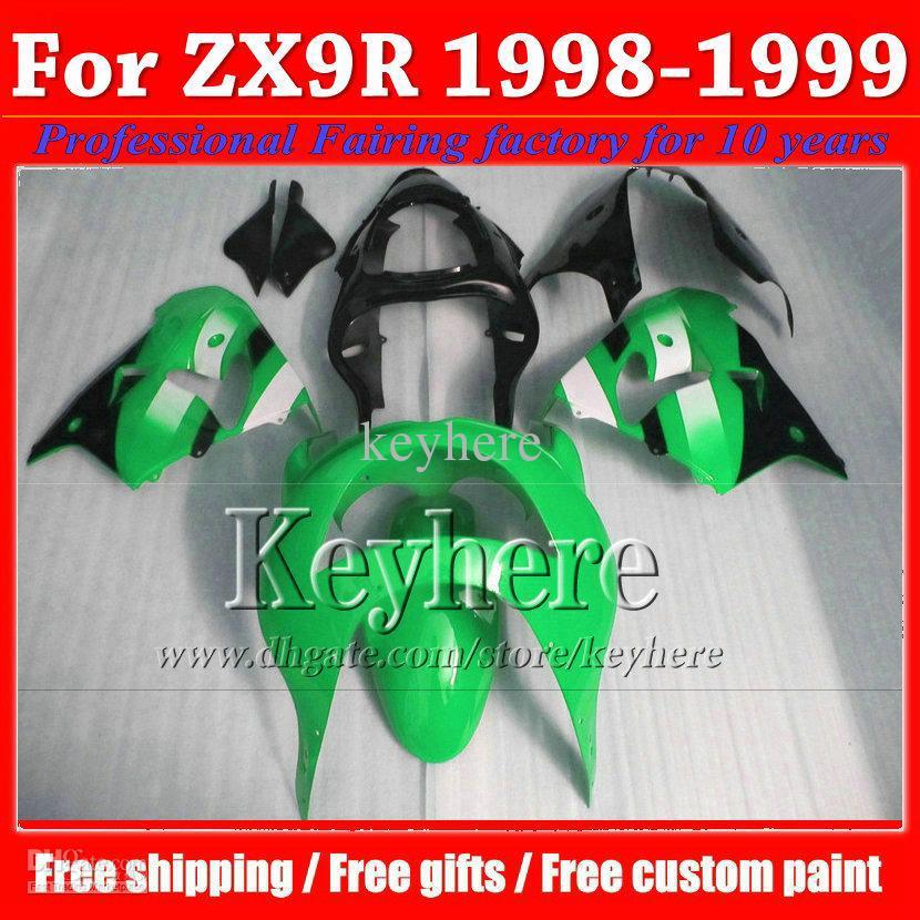 Custom fairing kits for 1998 1999 Kawasaki ZX9R green black 98 99 high grade moto body kitss fairings KQ13(China (Mainland))
