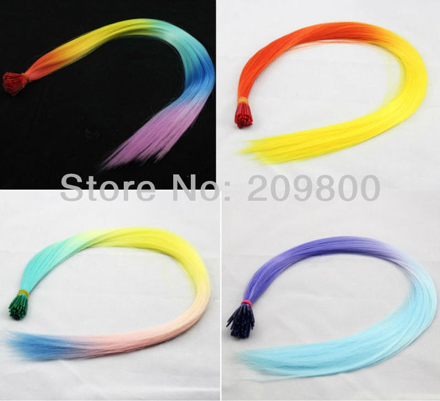 "FREE SHIPPING Rainbow super popular 80pcs/set16"" Multi-color Gradient Ombre Style Synthetic Hair Extension"