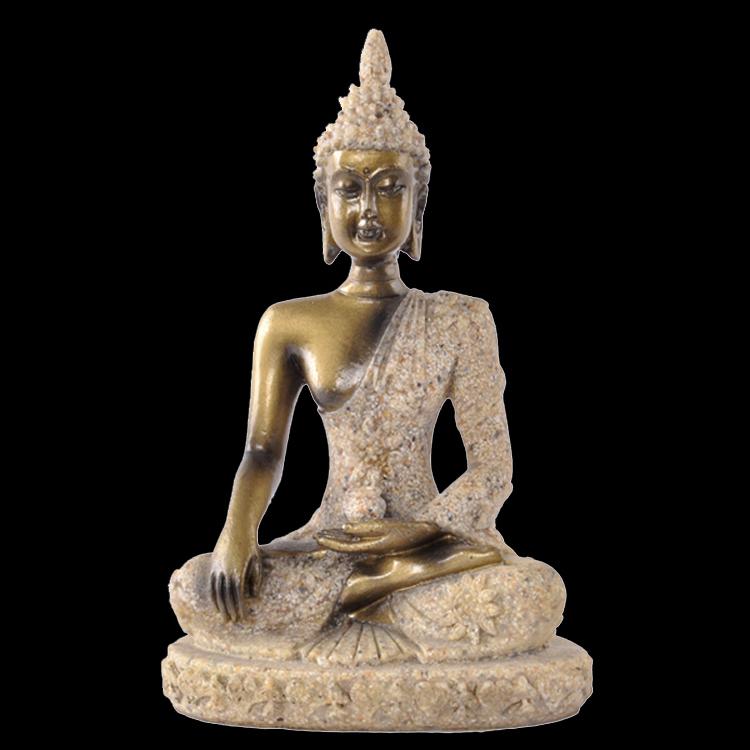 Small Seated Buddha Shakyamuni Statue Sandstone Colored Drawing Amitabha Figure(China (Mainland))
