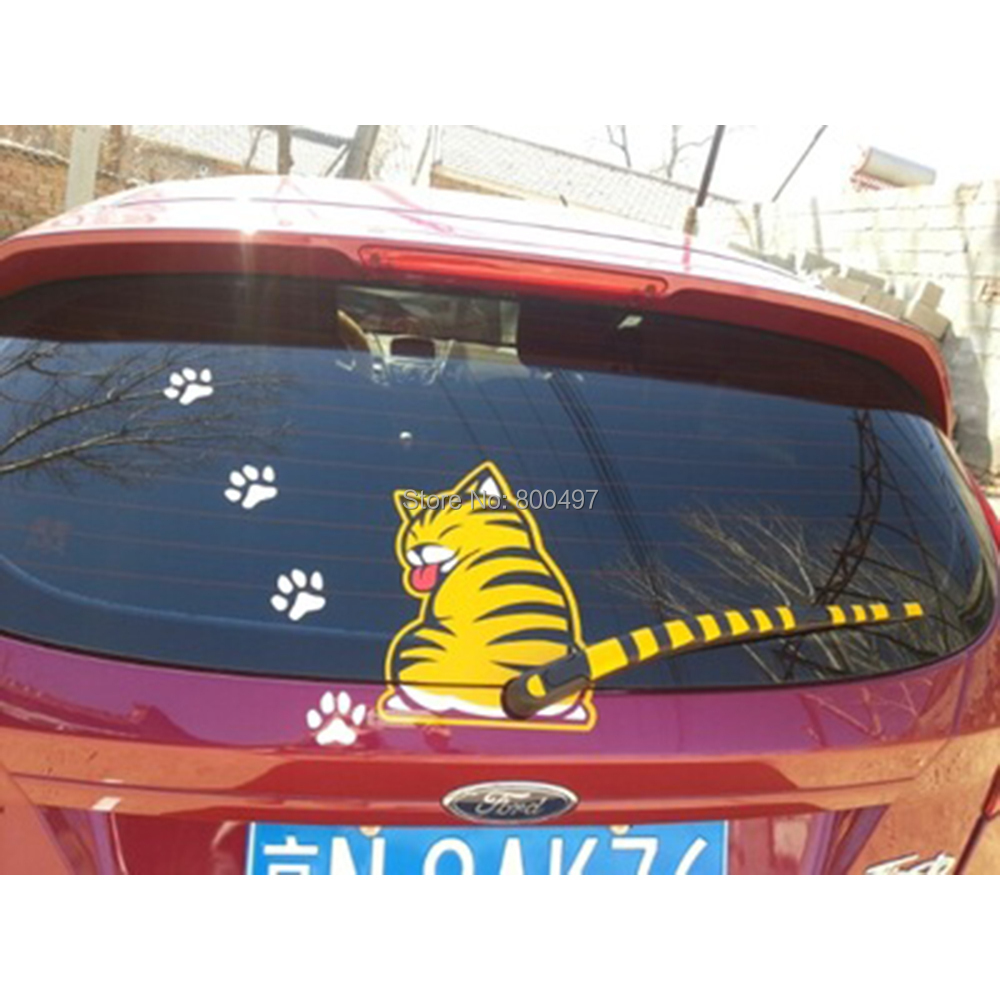 Funny Cat Car Rear Window Wiper Decal Car Body Stickers Car Accessoeirs for Toyota Volkswagen Tesla