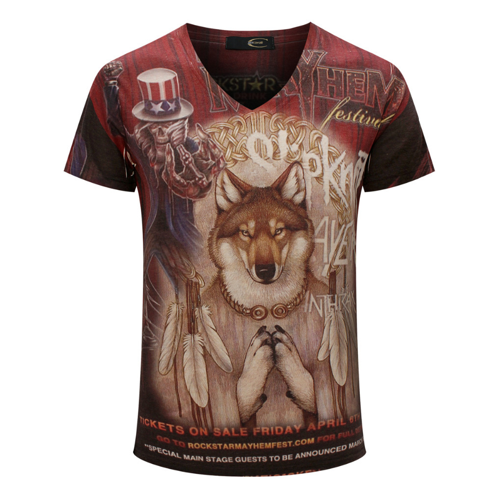 Dog print t shirt 2015 boys painting t shirt men brand for Which t shirt brand is the best