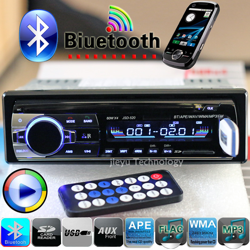 New 12V Bluetooth Car Stereo FM Radio MP3 Audio Player 5V Charger USB/SD/AUX/APE/FLAC Car Electronics Subwoofer In-Dash 1 DIN(China (Mainland))