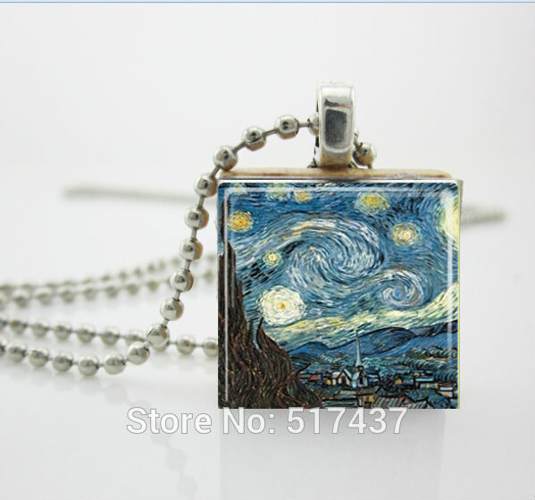 Starry Night Pendant,Starry Night Necklace Vincent Van Gogh Jewelry Scrabble Tile Pendant,Wood Necklace(China (Mainland))