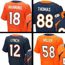 Mens #58 Von Miller #18 Peyton Manning #12 Paxton Lynch #88 Eemaryius Thoma Navy Blue Orange Elite jersey 100% Stitched Logos(China (Mainland))