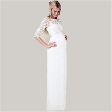 Buy White Lace Maternity Bridal Gowns Half Sleeve Floor Length Sheer Neck Custom Made Cheap Wedding Dresses Pregnant Women for $110.94 in AliExpress store