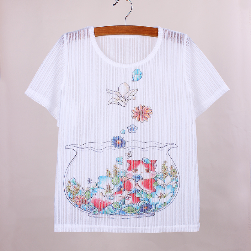 Flower Cute Cat print women summer dresses The Western fashion design girls t shirts 2016 new arrival fabric top tees(China (Mainland))