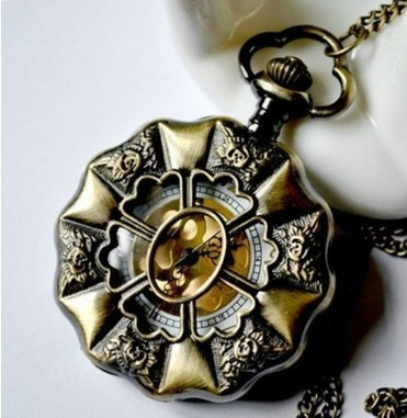 Min.order is $15(mix order)Elegant Royal Retro Carving Rose Bronze Color Pocket Watch Necklace Chain(China (Mainland))