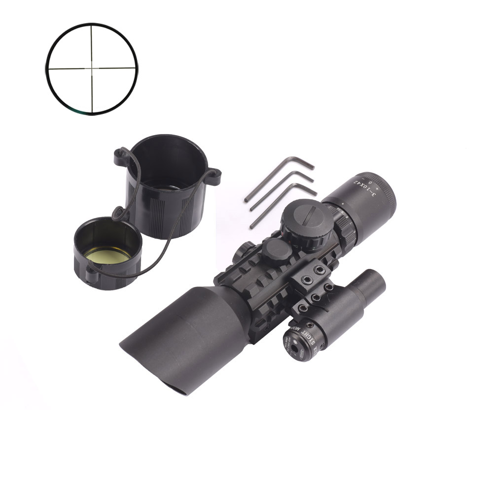 M9 3-10x42 Mil-Dot Reticle Red Green Dot Sight Rifle Scope With Red Laser for Airsoft Hunting Caza 20mm 11mm Mount Rail<br><br>Aliexpress