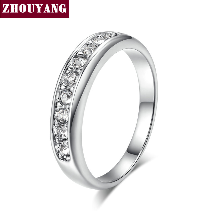 Simple 9 Stone Classic 18K White Gold Plated Austrian Crystals Wedding Ring F