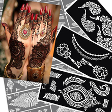 6pcs Mehndi Indian Henna Hand Tattoo Stencil, Glitter Airbrush Lace Flower Tattoo  Stencil Templates For Painting Tatoo Stencils(China (Mainland))